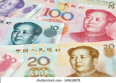 Set of chinese currency money yuan renminbi. Close-up