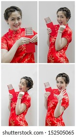 set of Chinese new year. In Chinese, a red packet is a monetary gift