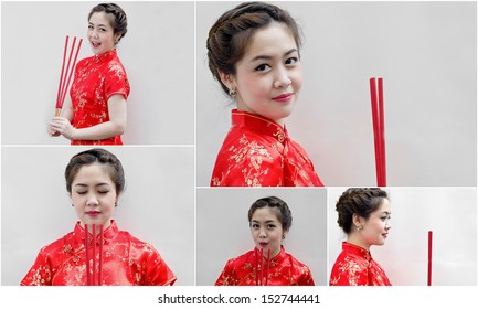 set of chinese young woman with tradition clothing holding joss sticks(incense)