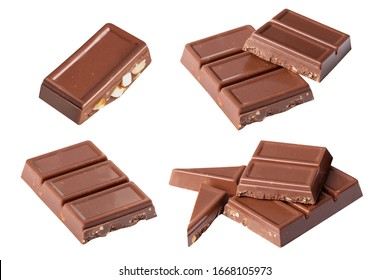 set Chocolate almond bar pieces  on white background  isolated  from side view   .Image stack Full depth of field macro