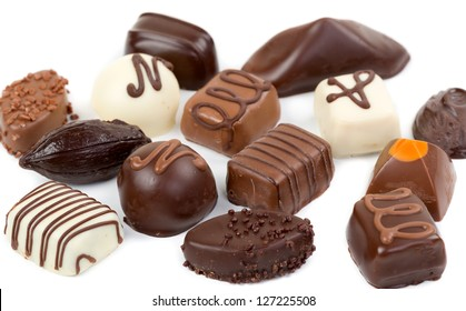 Set chocolate candies isolated on white background