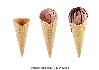 Set of chocolate ice cream cones in  waffle cone - empty, brown ice cream, with chocolate sauce isolated on white.