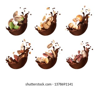 Set of chocolate splashes with different crushed nuts closeup, isolated on a white background