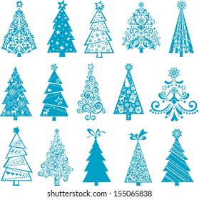 set of christmas blue trees isolated on White background. illustration