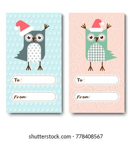 a set of Christmas cards, invitations with owls