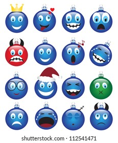 set of Christmas decorations depicting various emotions
