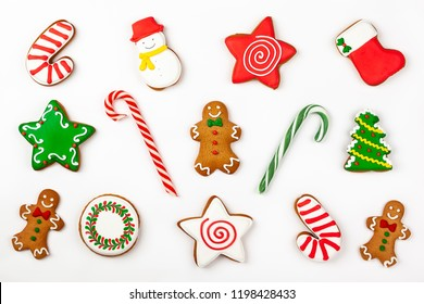 Set of Christmas gingerbread on white background. Top view. Christmas concept .