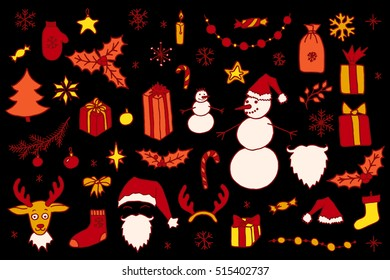 Set of Christmas hand drawn doodle elements in red and orange over black. Santa, Christmas tree, reindeer, snowman, snowflakes, gifts, decorations, holly, candle, stars.
