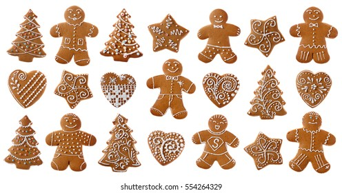 Set of christmas homemade gingerbread cookies on the white background