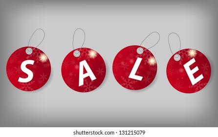 Set of Christmas Sale Tags.  illustration
