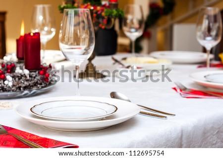 Set up christmas table inside a house & Set Christmas Table Inside House Stock Photo (Edit Now) 112695754 ...