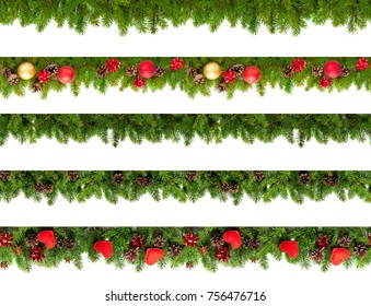 Set of Christmas tree branches on white background as a border or template for christmas card