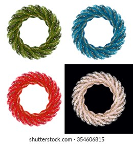 Set Christmas wreath. Blue ornament for holiday. Red garland of pine branches. White decor for new year.