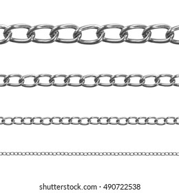 A set of chrome chains of different sizes on an isolated white background