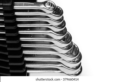 Set of chrome-Vanadium Wrenches of different Sizes Lined Up From Smallest To Largest Isolated On White Background