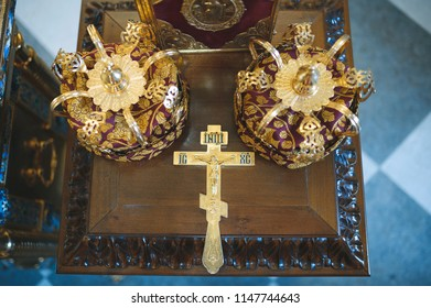 set for church wedding on wooden old table