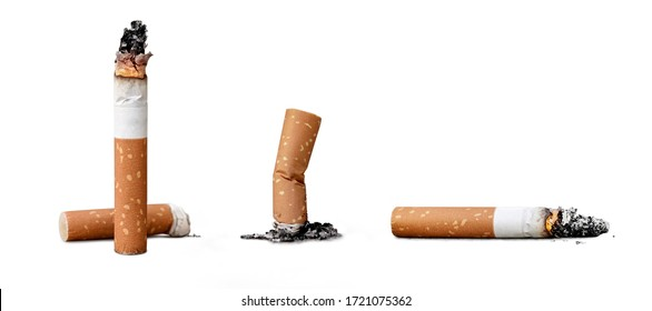 Set of cigarette butts isolated on white background