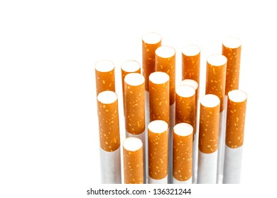Set of cigarettes on white background