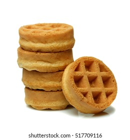 Set of circle mini waffles. Isolated on white background