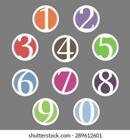 Set of circles with numbers