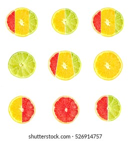Set of citrus fruits from grapefruit, oranges and limes isolated on white background