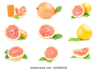 Set of citrus grandis isolated on a white cutout