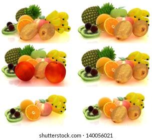 Set of citrus on a white