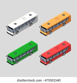 Set with city bus icons. Flat isometric illustration with transport. Raster version