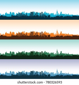 Set of city landscapes at different times of the day.  illustration.