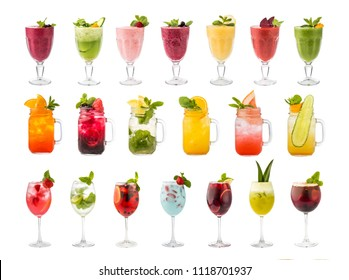 Set of classic alcohol cocktails soft and long-drinks, smoothies and  lemonades isolated on white background