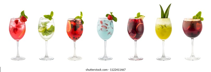 Set of classic alcohol cocktails soft and long-drinks isolated on white background