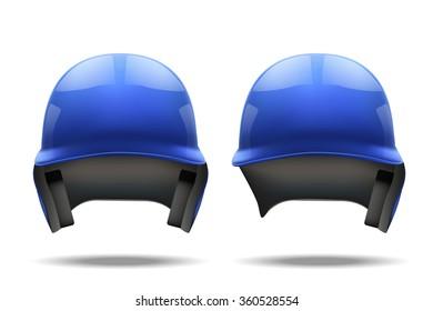 Set of Classic Blue baseball helmets. Sample equipment for your design.  illustration Isolated on white background.