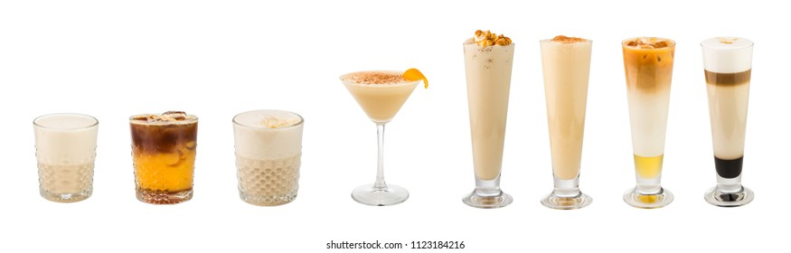 Set of classic coffee-based alcohol cocktails soft and long-drinks isolated on white background