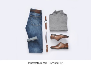 set of classic men`s fashion clothes and accessories . Top view
