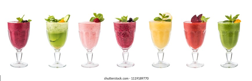 Set of classical fresh delicious smoothies decorated with fruits and berries isolated on white background. Vegan natural healthy drinks