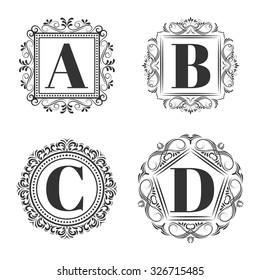 Set of classical logo or monogram design. Letters A, B, C, D.