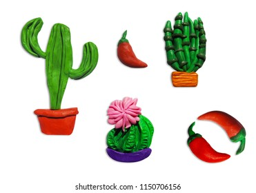Set of Clay plasticine handmade cactus icon isolated on white background for your design.