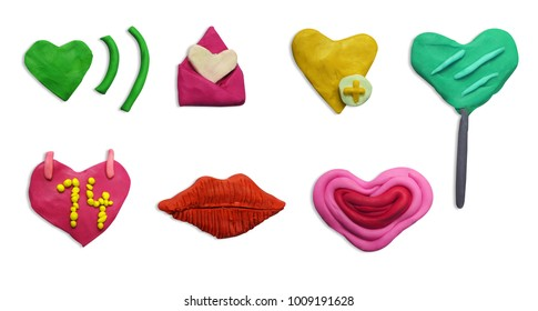 Set of Clay plasticine handmade valentines day icon. Valentine icon set. Different colors and different shapes. Happy Sweetest Day. Valentines day signs and love symbols isolated on white background.