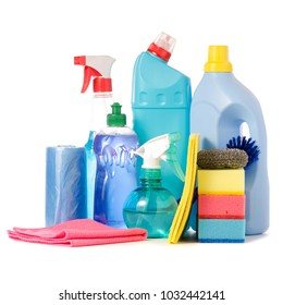 A set of cleaner for cleaning on a white background isolation