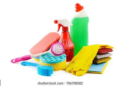 Set cleaners isolated on white background. Detergent, sponges, brush, napkins, rubber gloves