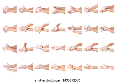 Set of Cleaning Hands. Washing hands. ISOLATED ON WHITE BACKGROUND. Cleaning Man Hands Collection.