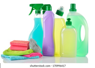 Set of cleaning products. Spray Cleaner, wc cleaner, washing liquid, cream cleaner isolated and cloths and sponge on white background.