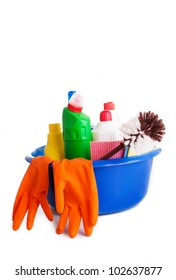 Set of cleaning products and tools on white