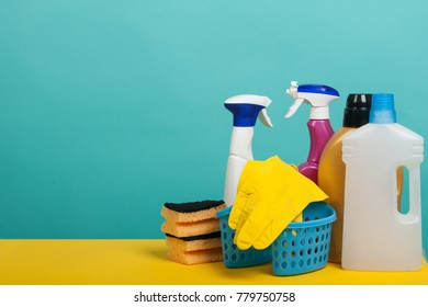 Set of cleaning and washing equipment. Cleaning concept with supplies