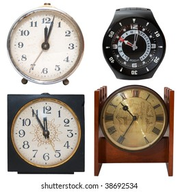 set clocks, isolated on white