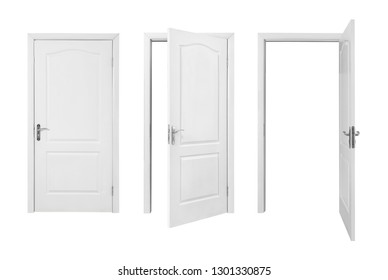 Set of closed and opened light doors isolated on white
