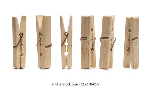 Set  close-up clothespins, natural bamboo peg isolated on white background