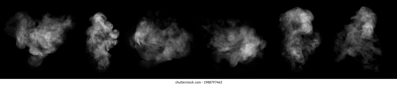 Set. Close-up of steam or abstract white smog rising above. water droplets that can be seen that swirl beautifully from humidifier spray. Isolated on a black background