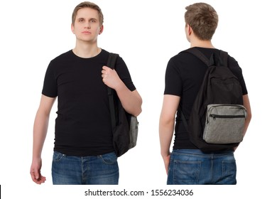 Set of Closeup Student in blank template black t shirt with backpack front and back view. Travel man and education concept. Copy space. Mock up