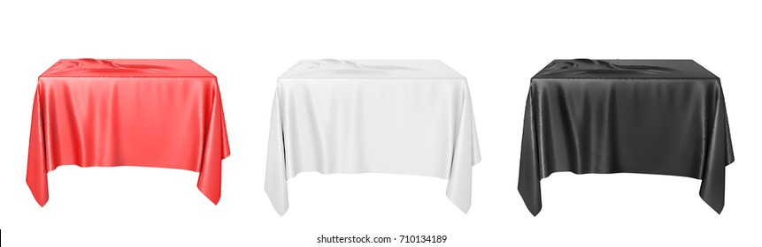 Set of cloth on a square pedestal isolated on white. 3d illustration